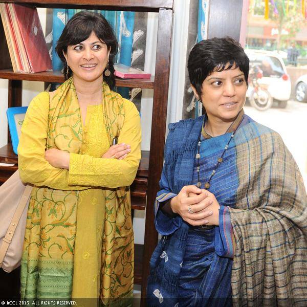 Kaveri-Cariappa-head-hard-goods-Fabindia-and-Anuradha-Kumra-creative-and-buying-head--womens-wear-Fabindia-during-the-launch-of-the-Fabindia-collection-Kaleidoscope-Eyes-inspired-by-Trishla-Jains-artworks-