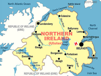 Londonderry, ulster, ireland-map