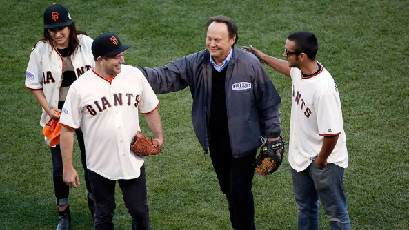 Zak, Zelda and Cody Williams join the actor's best friend Billy Crystal to pay tribute before a San Francisco Giants game.