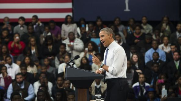 US President Barack Obama speaks during a town hall event at Benedict College in Columbia, South Carolina Read more: http://www.rollingstone.com/culture/news/obama-blasts-ferguson-police-department-as-two-more-officers-resign-20150307#ixzz3TjEKJb8Y  Follow us: @rollingstone on Twitter | RollingStone on Facebook