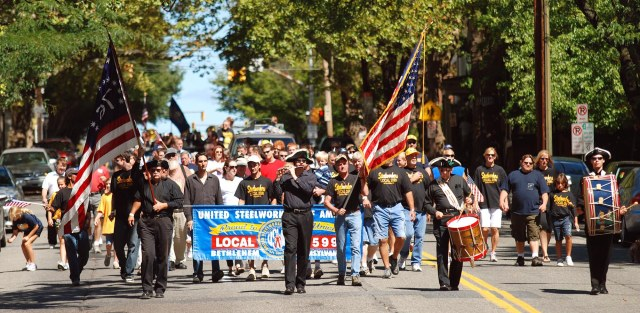 Bethlehem, PA, September 5th, 2010 Members of the Whitehall Guard Fife and Drum Corps lead the Steelworkers and Friends Labor Day Parade down New street Sunday afternoon. With Gallery. Express-Times Photo | MATT SMITH