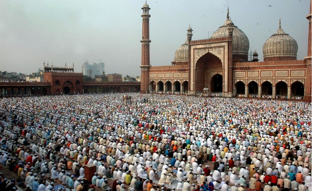 MUSLIMS OFFERING NAMAJ ON THE OCASSION OF EID AT JAMA MASJID IN THE CAPITAL